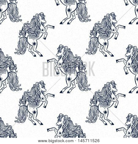 Ornament Horse vector. Beautiful illustration pattern for design, print clothing, stickers, tattoos, Adult Coloring book.