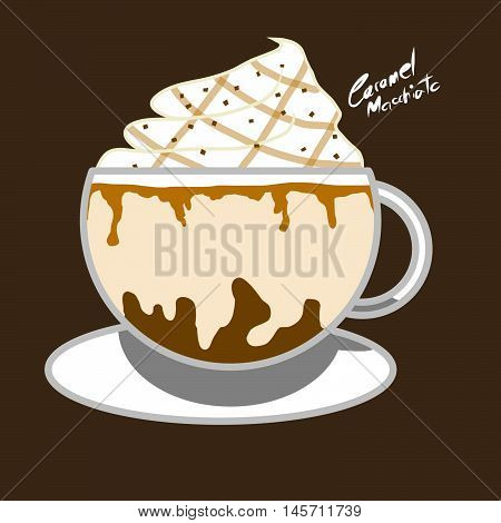 Coffee caramel macchiato drink with whipping cream topping with caramel syrup illustration