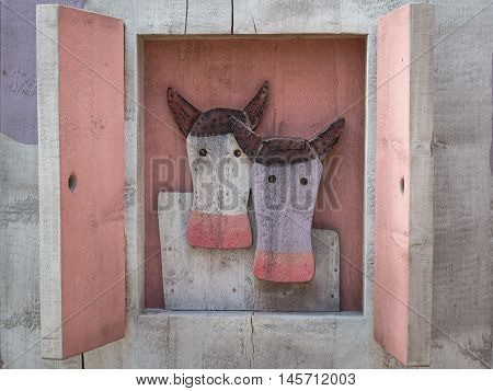 Two Cows Coming Out From Window, art