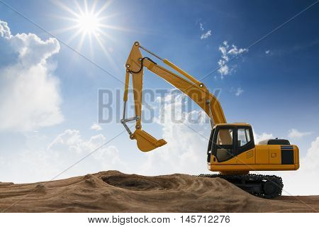 Excavator model on wooden with sky and sunlight background