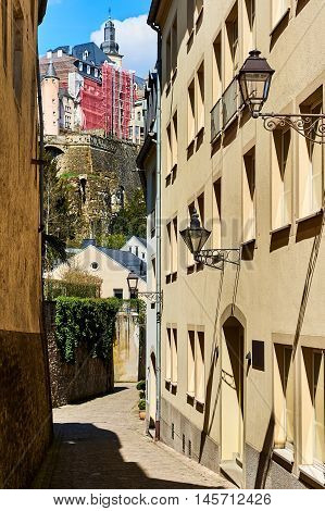 Charming narrow street in old town of Luxembourg. Western Europe