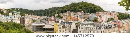 Karlovy Vary Downtown Panorama Czech Republic
