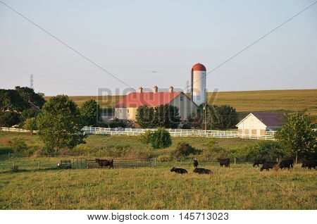 Farm with silo in Lancaster Pennsylvania on a summer evening