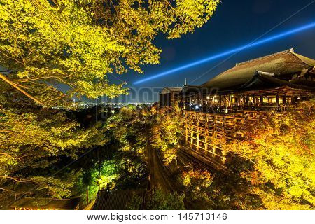 Kyoto Kiyomizu-dera Temple Japan at night
