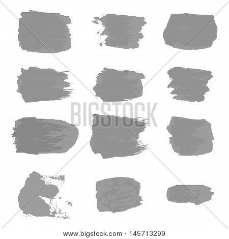 Vector brush stroke paint abstract on white background set hand drawing design art gray color grunge texture frame for banner label