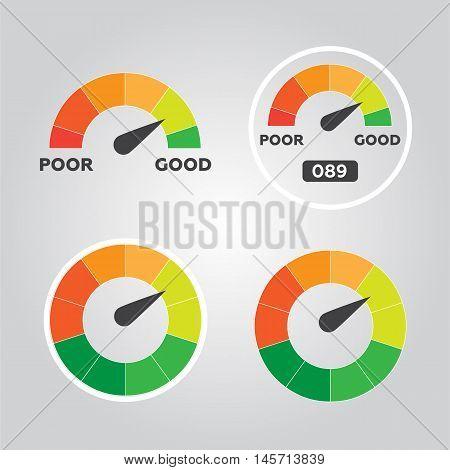 Credit score indicators and gauges vector flat