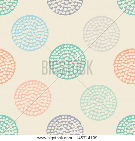 Colorful textured circle seamless pattern. Blue, pink, orange, beige round grunge polka dot, wrapping paper. Vector illustration.