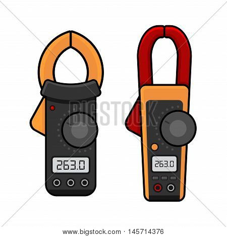 Digital Current Clamp Meter. Electrician power tools. Vector illustration