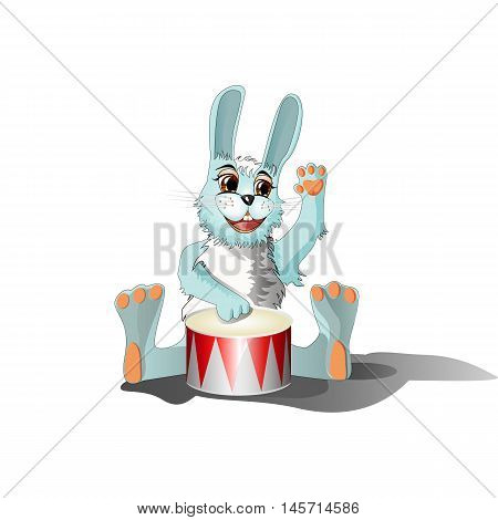Funny rabbit musician playing big drum. Hand drawn vector cartoon illustration.