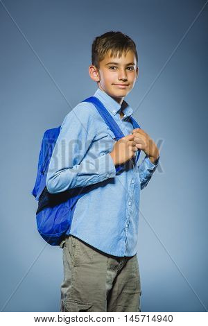 school concept. Closeup portrait successful happy boy with knapsack.