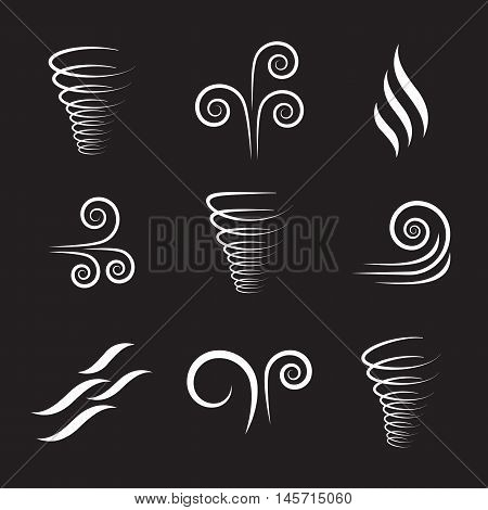 Wind icons nature, wave flowing, cool weather vector