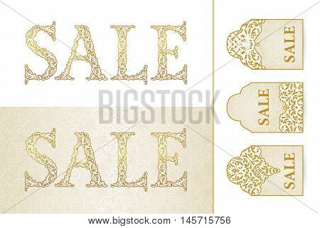 Vintage Sale Discount Banner In Victorian Style.