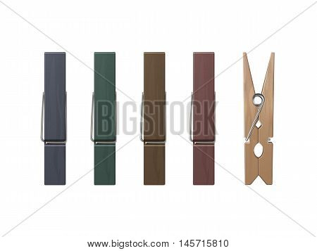 Vector Set of Wooden Clothespins Pegs of Different Color Front Side View Close up Isolated on White Background