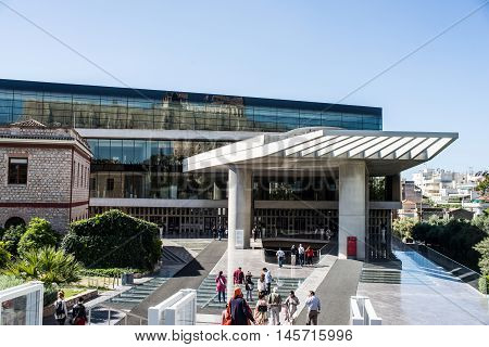 ATHENS GREECE - APRIL 26 2016:Acropolis Museum in Athens with crowd