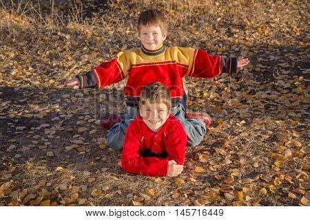 Two smiling boys playing together on withered grass in autumn park
