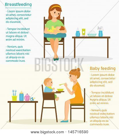 mother is breastfeeding on a pillow for feeding. Mother feeds the child with a spoon.Easy to move objects.Template with place for your text.Flat style.Vector illustration