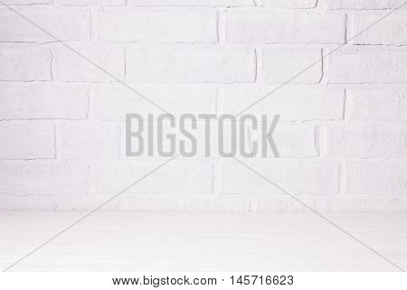 Home or kitchen interior, decorative white brich wall with place for the text