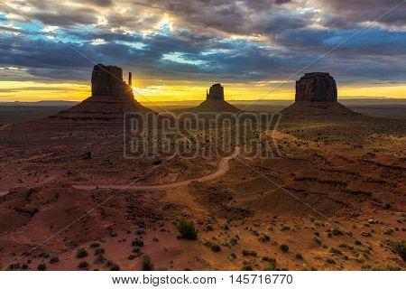 Beautiful Monument Valley at sunrise, Utah, USA