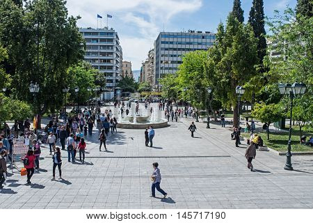 ATHENS GREECE - APRIL 27 2016:view of Syntagma square in Athens with crowd