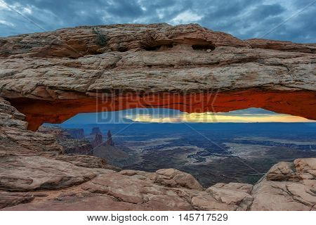 Famous sunrise at Mesa Arch in Canyonlands National Park, Utah, USA