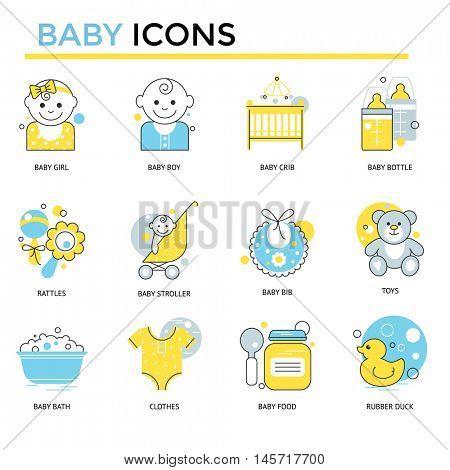 Baby icons, thin line flat design