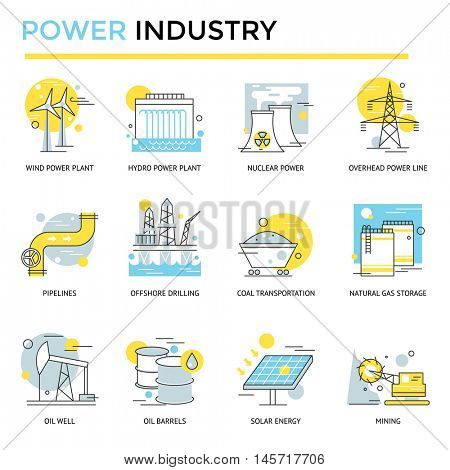 Power industry icons, thin line, flat design