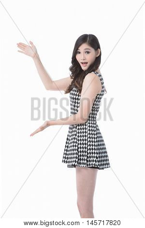 Pretty smiling girl shows ten fingers, isolated