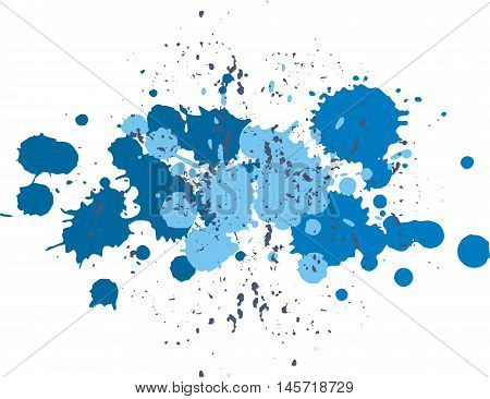 Background with blots and splashes of paint. Vector blots and vector  splashes.Blue blobs