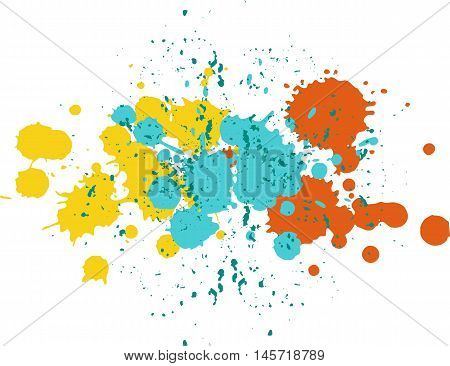 Background with blots and splashes of paint. Vector blots and vector  splashes.Yellow, blue and orange blobs