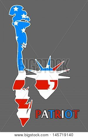 Statue Of Liberty Patch Badge. Patriot Day. Statue Of Liberty In The Us Flag Colors. Vector Illustra