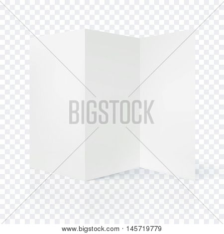 Vector open blank folding paper leaflet. Folded paper shee blank white page. Spreadsheet isolated on transparent background
