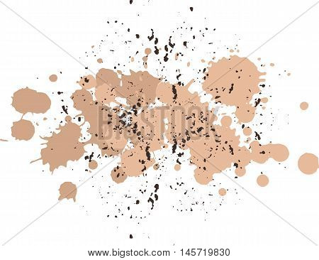 Background with blots and splashes of paint.  Vector blots and vector  splashes. Coffee and brown, chocolate blobs