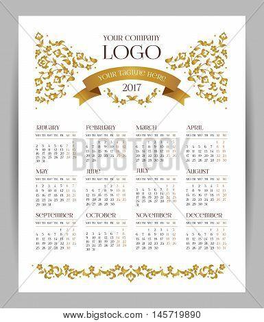 Vector Calendar For 2017, Golden Floral Decor.