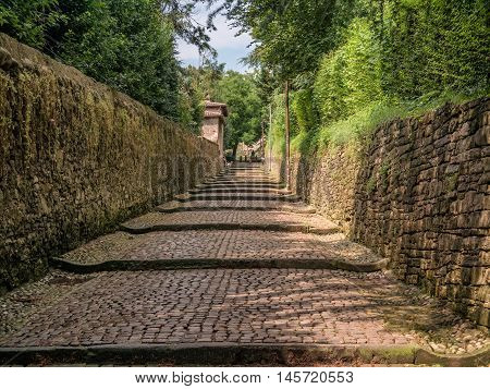 Cobbled streets up to citta alta in Bergamo Italy