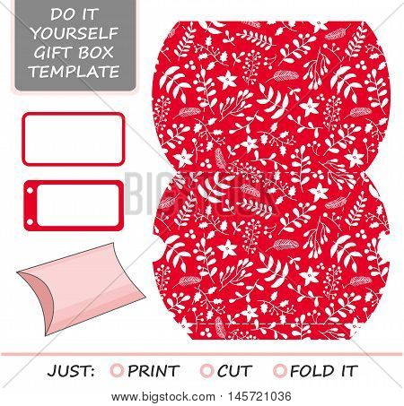 Christmas vector gift packaging template. Favor, gift box die cut. Box template. Red and white pattern with holly, mistletoe and poinsettia.