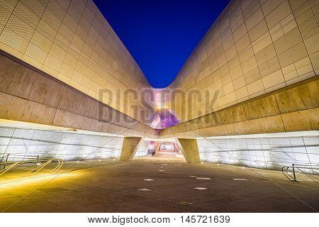 Seoul South Korea- December 7 2015: The Dongdaemun Design Plaza also called the DDP is a major urban development landmark in Seoul South Korea designed by Zaha Hadid and Samoo