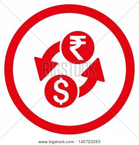 Dollar Rupee Exchange rounded icon. Vector illustration style is flat iconic symbol, red color, white background.