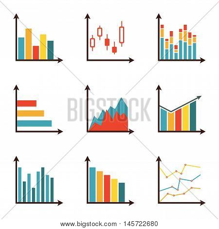 Graphs and data icon set. Charts for infographics design. Colorful vector illustration in flat style.