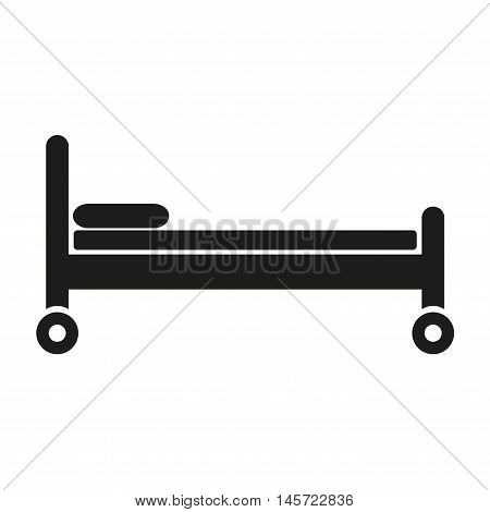 Bed icon isolated on white background. Medical bed with wheels. Vector illustration.