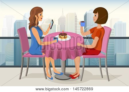 Two young women celebrating birthday in a roof top cafe with a cake candle and a cup of tea vector image