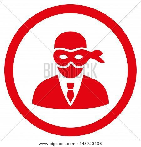 Masked Thief rounded icon. Vector illustration style is flat iconic symbol, red color, white background.