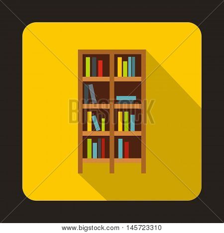 Bookcase icon in flat style on a yellow background vector illustration