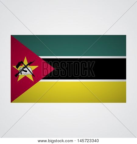 Mozambique flag on a gray background. Vector illustration