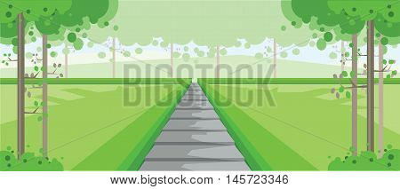 Vector abstract green landscape with silver stairs in a forest, flat zigzag style.