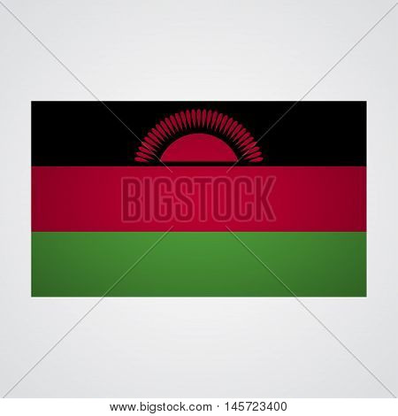 Malawi flag on a gray background. Vector illustration