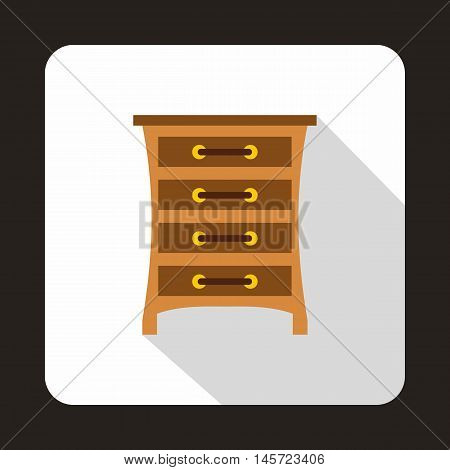 Brown chest of drawers icon in flat style on a white background vector illustration