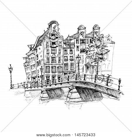 Color hand drawing, city view of Amsterdam typical houses and bridge, Holland, Netherlands. Picture made liner