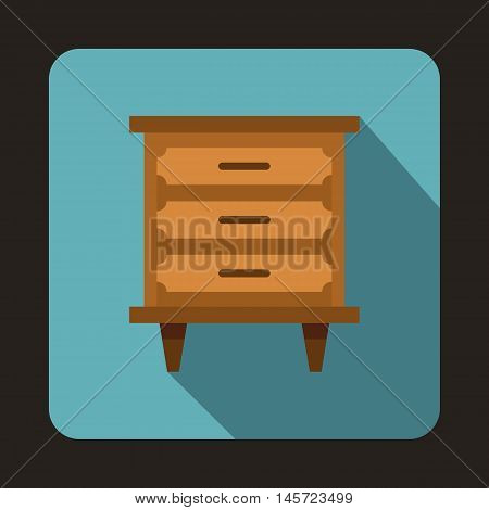 Wooden nightstand icon in flat style on a baby blue background vector illustration