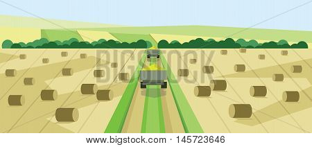 Vector abstract landscape with harvesting vehicles, hills, roads and clay ricks, flat zigzag style.