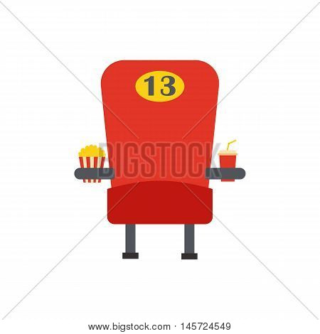 Vector illustration with cartoon flat red movie armchair with popcorn and soda. Cinema time vector icon. Movie snack with chair. Isolated objects on cinema time theme. Vector leisure background